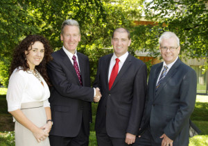 Pictured congratulating Gerry Grady (second left), the connector who introduced UCT to Wexford, who are creating 17 jobs in the county are Minister of State Paul Keogh TD (centre); Chief Operating Officer ConnectIreland, Joanna Murphy; and Tony Larkin, Deputy CEO Wexford County Council. No fee for repro. Please credit Ger Leacy